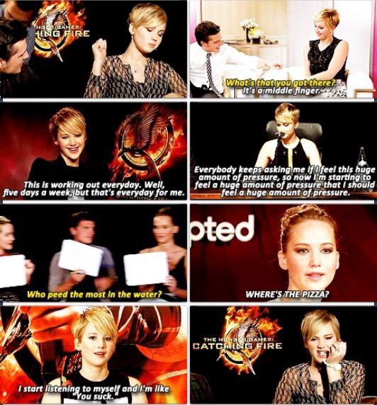 Jennifer Lawrence funny quotes from Catching Fire.
