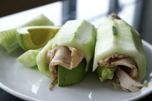 Cucumber, Avocado, Turkey Rolls
