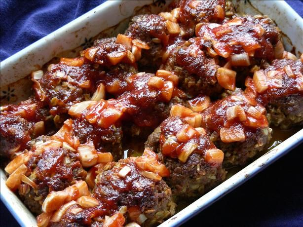 Barbecue Meatballs using rolled oats and evaporated milk. (Looks like ...