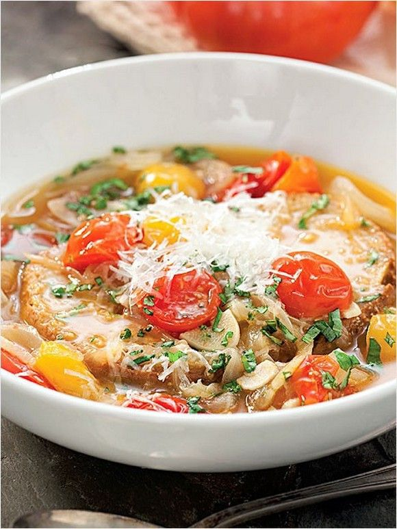 Roasted Tomato Bread Soup recipe | Food Recipes | Pinterest