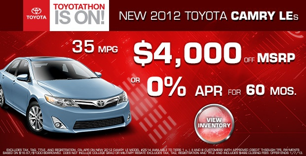 New Toyota Camry Le Toyota S Special Offers In West