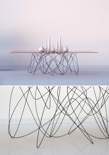 Wire leg table furniture pinterest for Table form design