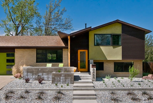 modern tri level home front garden yard and exterior