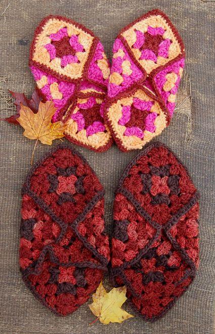 granny-square slippers