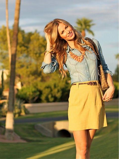 Denim Blouse and Yellow Skirt