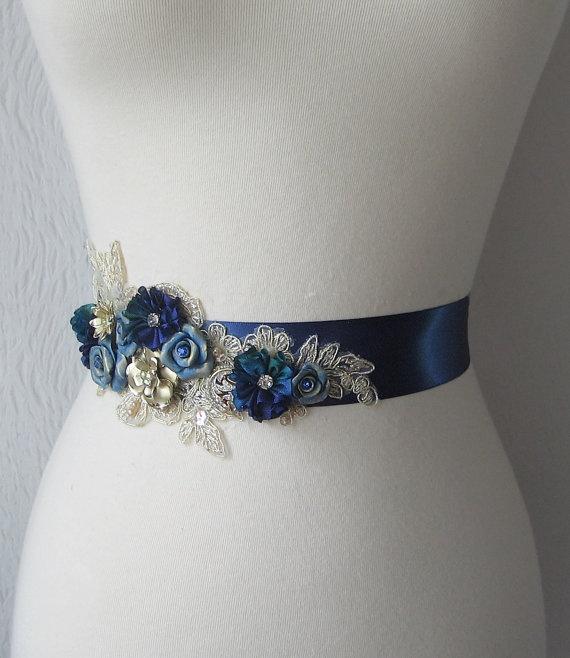Peacock blue bridal sash wedding belt cobalt blue with for Peacock wedding dress sash