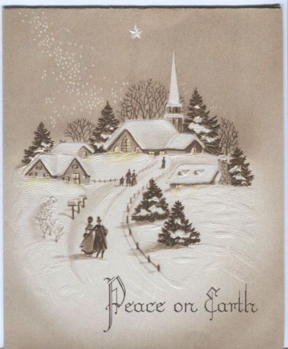 Vintage Christmas Card - Victorian Village Scene in Sepia