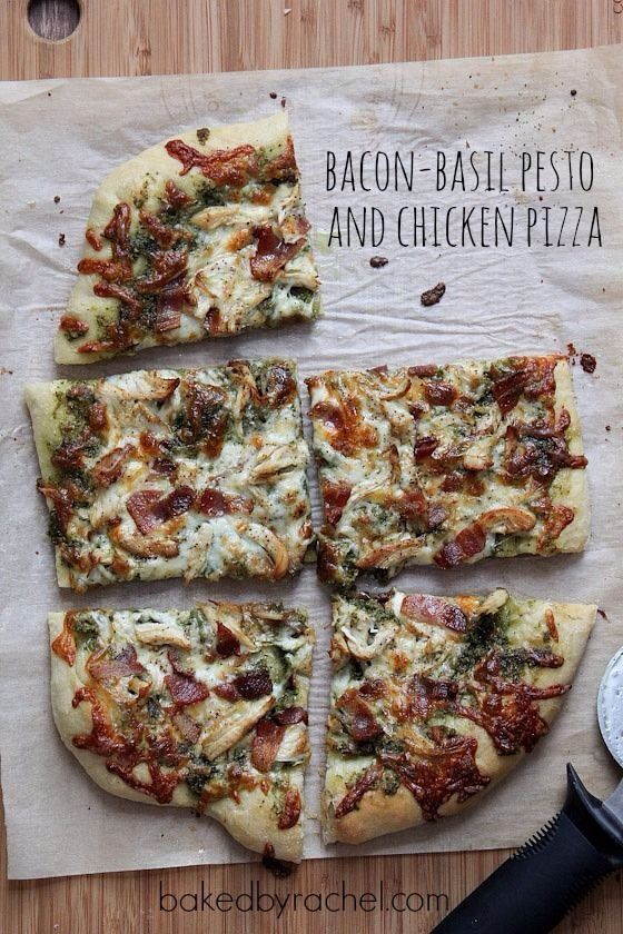 bacon basil pesto and chicken pizza   food   Pinterest
