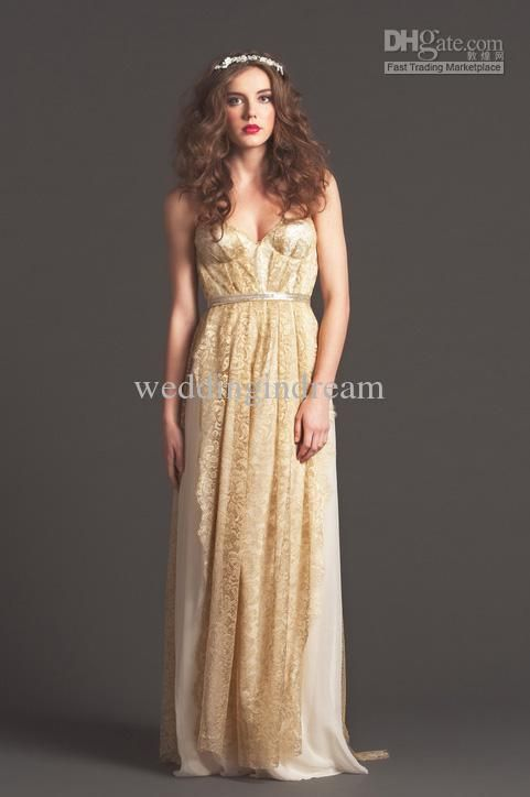 Wholesale 2013 Wedding - Buy Spaghetti Strap A-line Chiffon Gold Lace Applique Vintage Summer Wedding Dresses 2013 Bridal Gown, $147.73 | DHgate  How do you feel about this one Jeanne?  Too bad this is from a bad website.  Terrible reviews on the site so I don't trust them.
