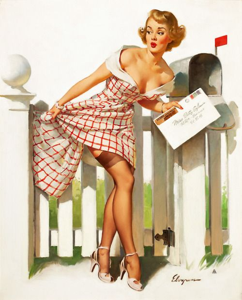 'Miss Sylvania's Mishap' - 1955 pin up art by Gil Elvgren.