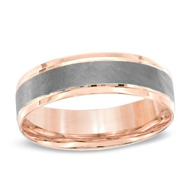 Men 39 S Comfort Fit Wedding Band In 10K Rose Gold With Charcoal R