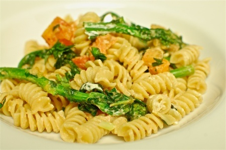 Pasta with Broccoli Rabe, Tomatoes, and Goat Cheese, delish!