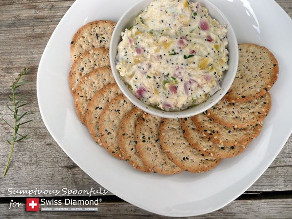 Crab Artichoke Dip with Asiago & Bacon. 3 cloves garlic, chopped 1 tsp ...