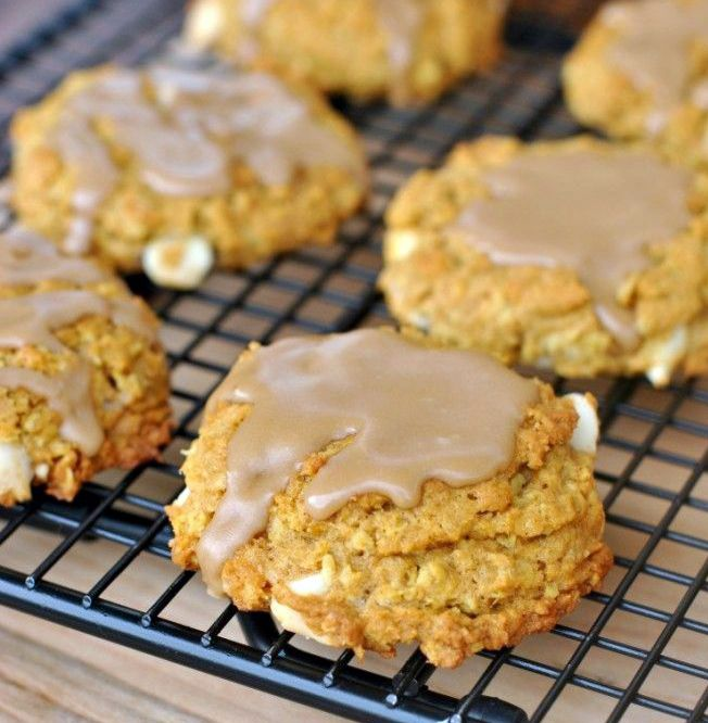 ... Pumpkin Oatmeal Cookies with White Chocolate Morsels and Maple Glaze