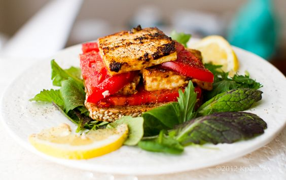 "Tomato Tofu ""Feta"" Open-Face Sandwich (I ate this for dinner tonigh..."