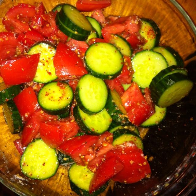 Amazing cucumber tomato salad: Salt, lemon pepper, garlic, chili-lime ...