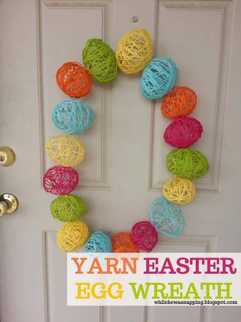 Yarn Easter Egg Wreath. #easter #easteregg #yarn #craft #wreath # ...