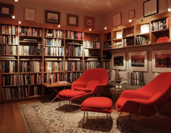 Home library shelving with modern chairs interior decoration artw