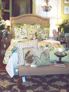 Pine Cone Hill's Hothouse Floral adds a powerful punch to this bed.