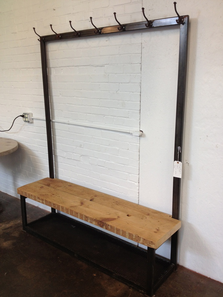 Industrial mudroom bench and coat rack industrial Mudroom bench and coat rack