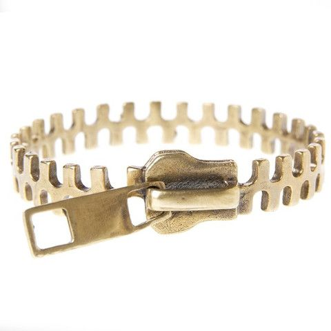 Gold Patina Zipper Bangle $176