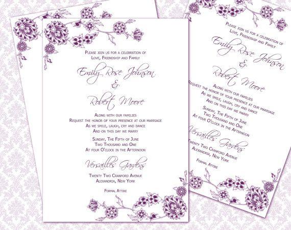 DIY Wedding Invitation Printable Template (5x7 invitation) | Instant ...