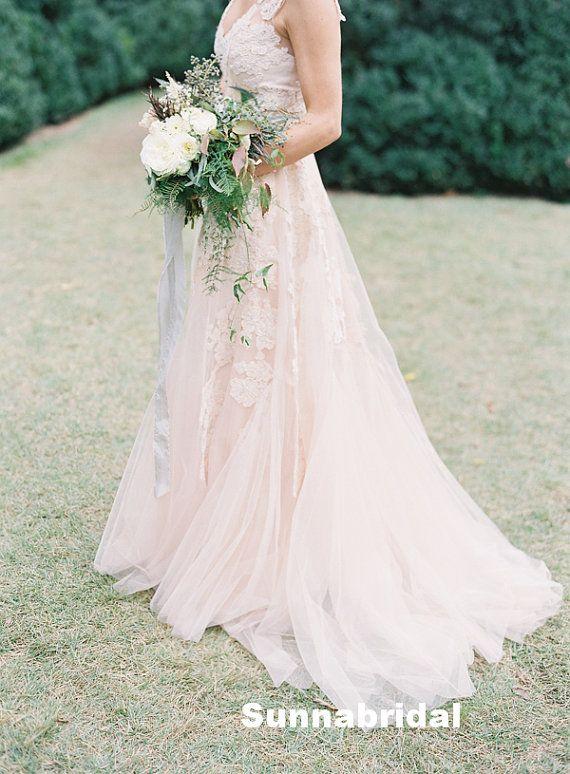 Blush color cap sleeves a line princess lace wedding dress for Lace blush wedding dress