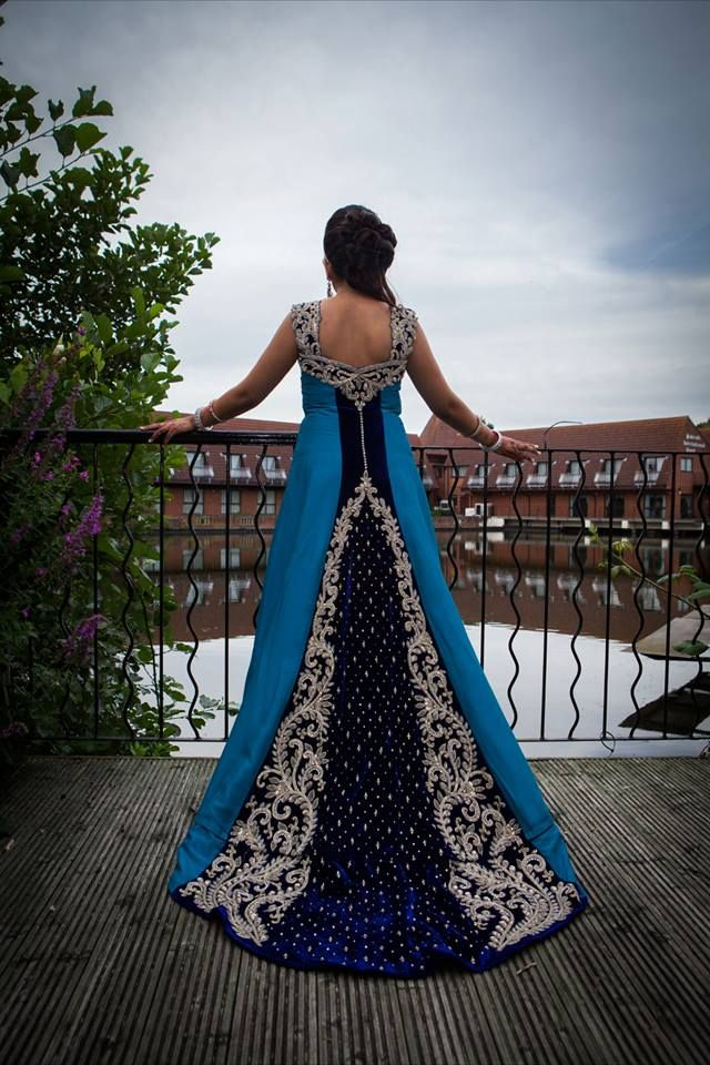 Love The Train On This Royal Blue Wedding Dress