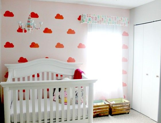 "Pink and White ""Dream Nursery"" with Cloud Stencil - #nurserydesign"