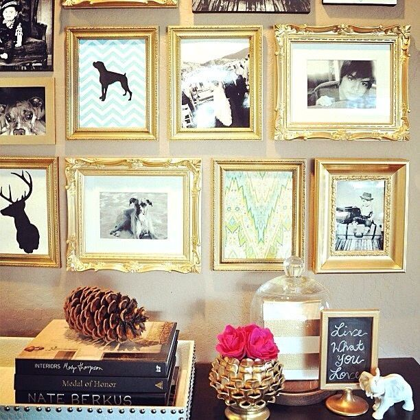 Gold frame collage wall home pinterest for Bedroom wall frames