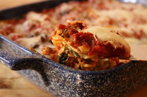 Italian sausage and fresh spinach lasagna.