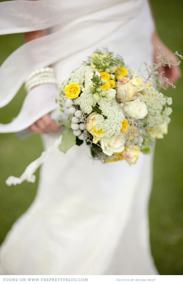 Yellow & green wedding bouquet | Photography: Moira West, Flowers: Saffron, Dress: Elbeth Gillis