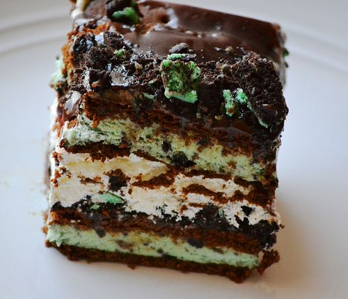No Bake Mint Chocolate Chip Ice Cream Cake | Recipe