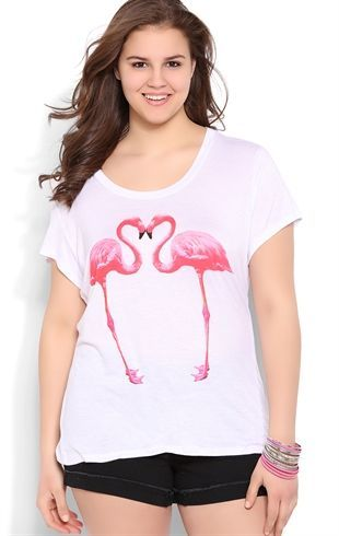 Deb Shops Plus Size High Low Top with Mirror Flamingo Screen $10.00