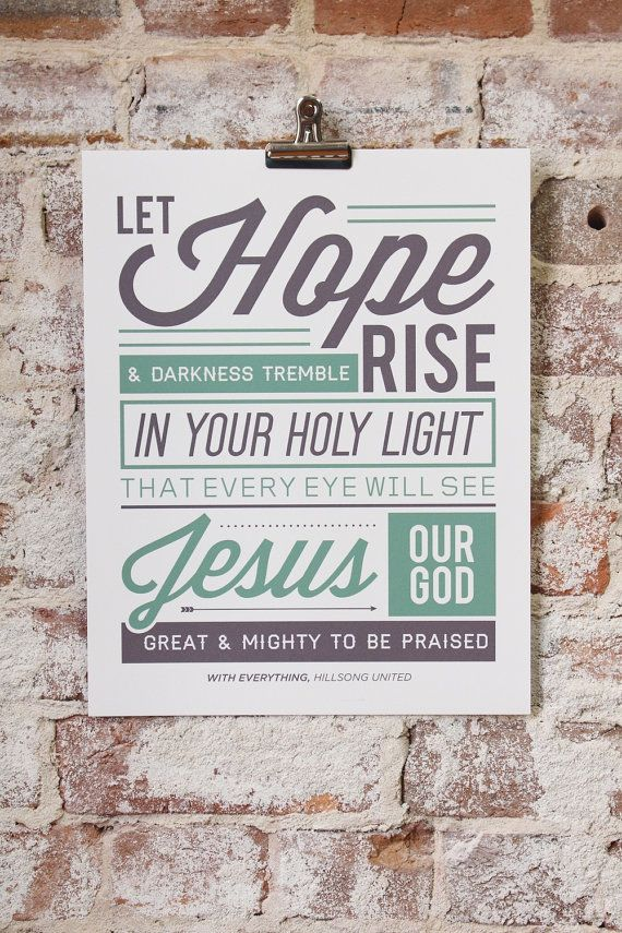 Vintage Typography Poster Print Worship Song -  quot With Everything quot  by    Vintage Typography Poster