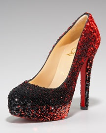 red sequin louboutins, Christian LOVES THE DAWGS!