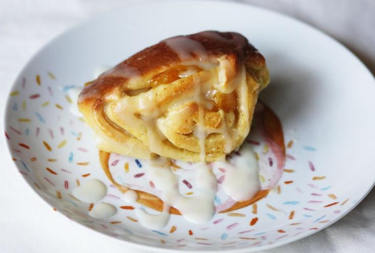 Peach and cinnamon breakfast rolls