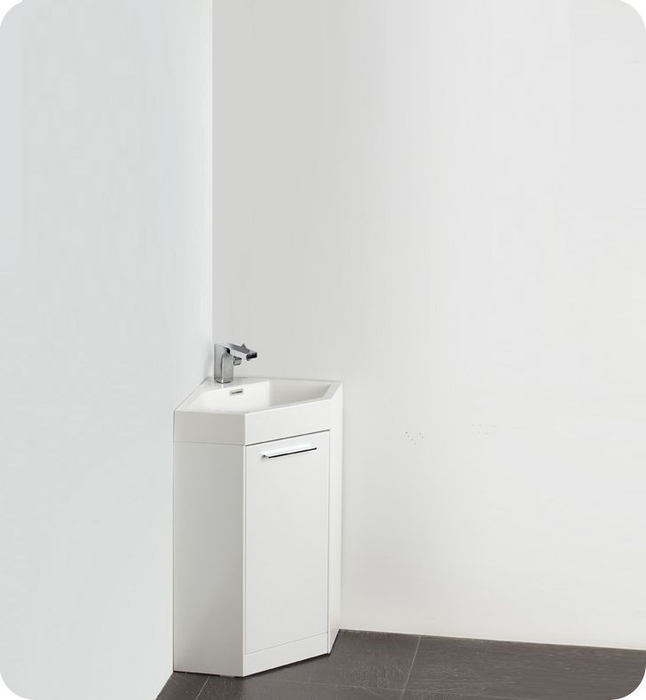 Fresca coda 18 quot small white modern corner bathroom vanity with faucet