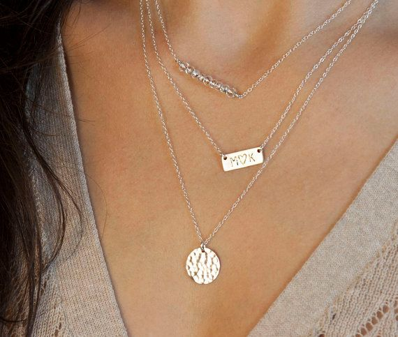 silver layered necklace set with name plate