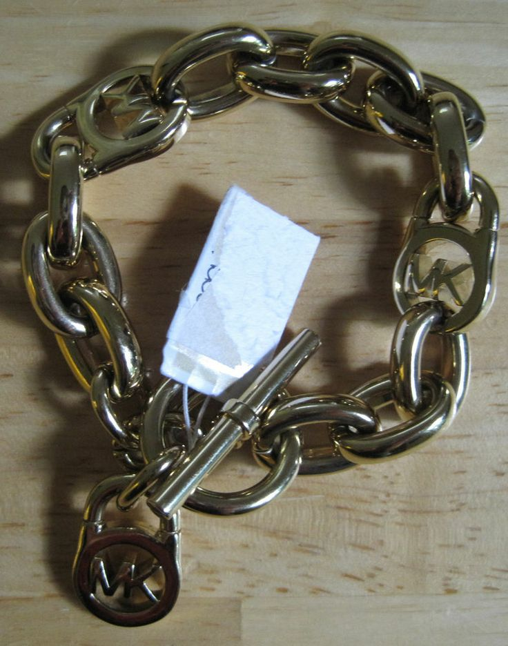 michael kors gold tone logo lock padlock charm bracelet
