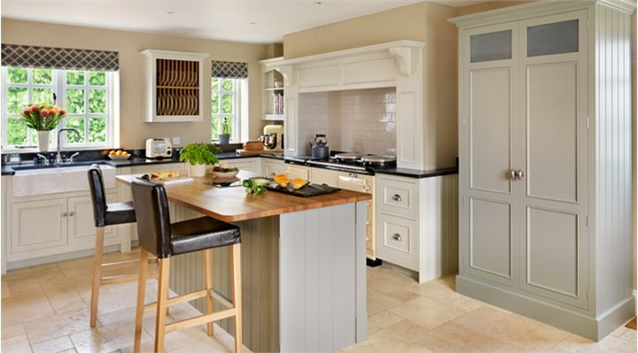 Harvey Jones Original kitchen, handpainted in Farrow & Ball 'Shaded White' and 'Pigeon'. www.harveyjones.com