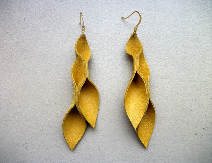 Mustard yellow leather petal earrings mustard yellow for Mustard colored costume jewelry