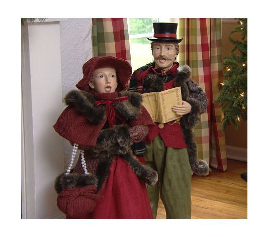 Set of 2 33 35 dickens adult christmas carolers by for Outside christmas figures
