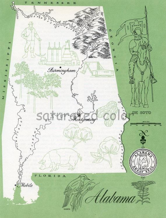 Alabama map vintage colorful illustrated map of alabama for Vintage sites like etsy