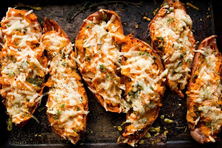 twice baked sweet potatoes | Eat your Veggies! | Pinterest