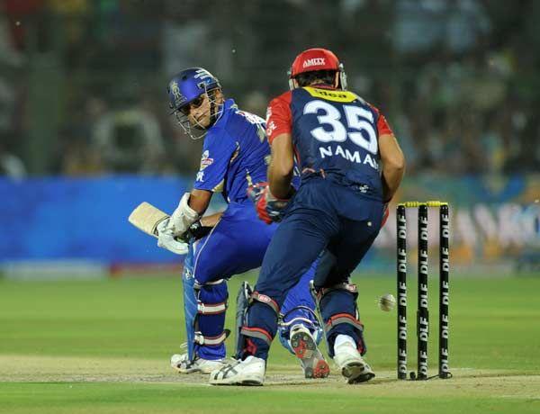 Rajasthan Royals captain Rahul Dravid (L) plays a shot as Delhi ...