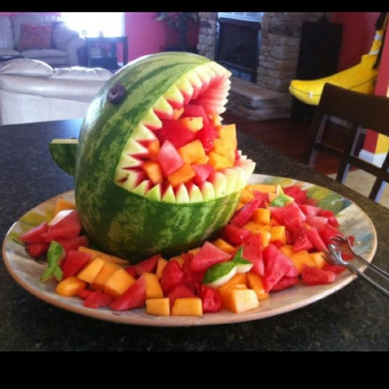 Watermelon shark carving creative food pinterest