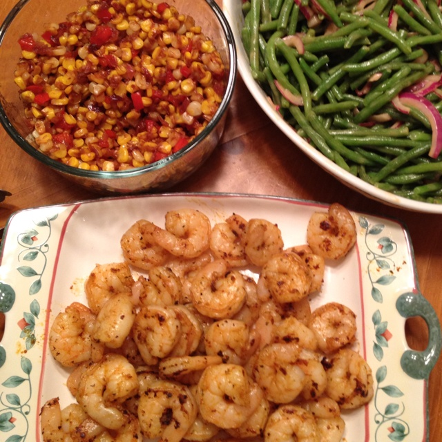 ... -Lime Shrimp with warm corn relish and Haricot-Vert & Red Onion salad