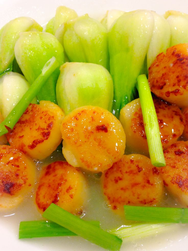 Ginger, garlic, green onion fried scallop with bok choy