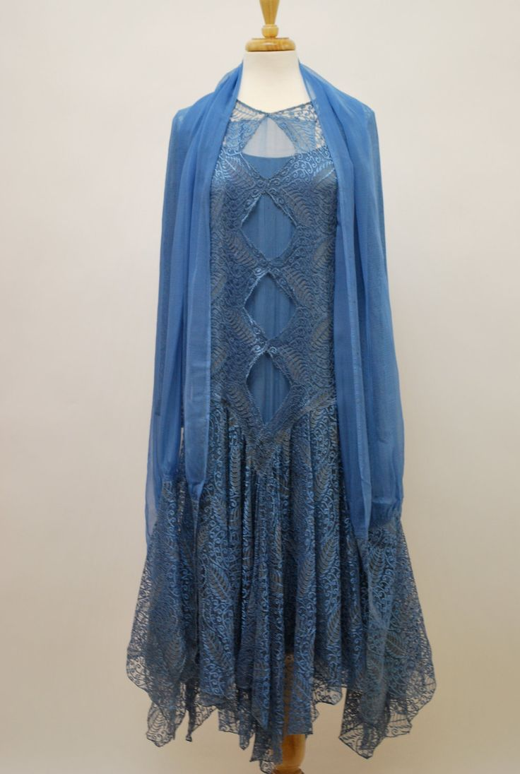 1920s blue lace dress with matching wrap